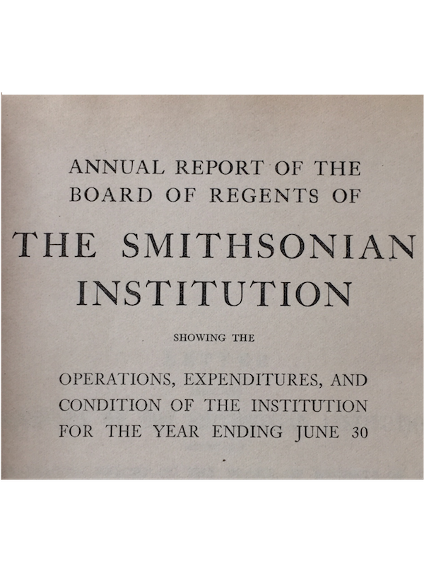 SMITHSONIAN INSTITUTION ANNUAL REPORT. for the year Ending June 30, 1926; Fewkes, J. (1), Safford, W., (2) Laflesche, F. (3) KATCINA ALTARS IN HOPI WORSHIP(1). OUR HERITAGE FROM THE AMERICAN INDIANS (2). OMAH BOW AND ARROW MAKERS(3)