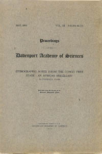ETHNOGRAPHIC NOTES FROM THE CONGO FREE STATE. AN AFRICAN MISCELLANY. F. Starr