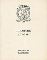 Auction Catalogue) Christie's, June 13, 1978. IMPORTANT TRIBAL ART