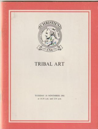 Auction Catalogue) Chrisite's, November 10, 1981. TRIBAL ART. ART AND ETHNOGRAPHY FROM AFRICA,...