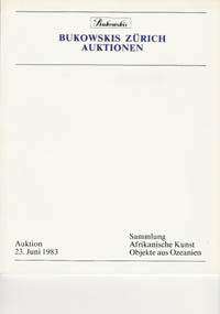 Auction Catalogue)BUKOWSKIS, June 23, 1983. SAMMLUNG AFRIKANISCHE KUNST OBJEKTE AUS OZEANIEN