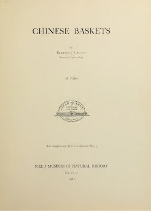 CHINESE BASKETS. B. Laufer